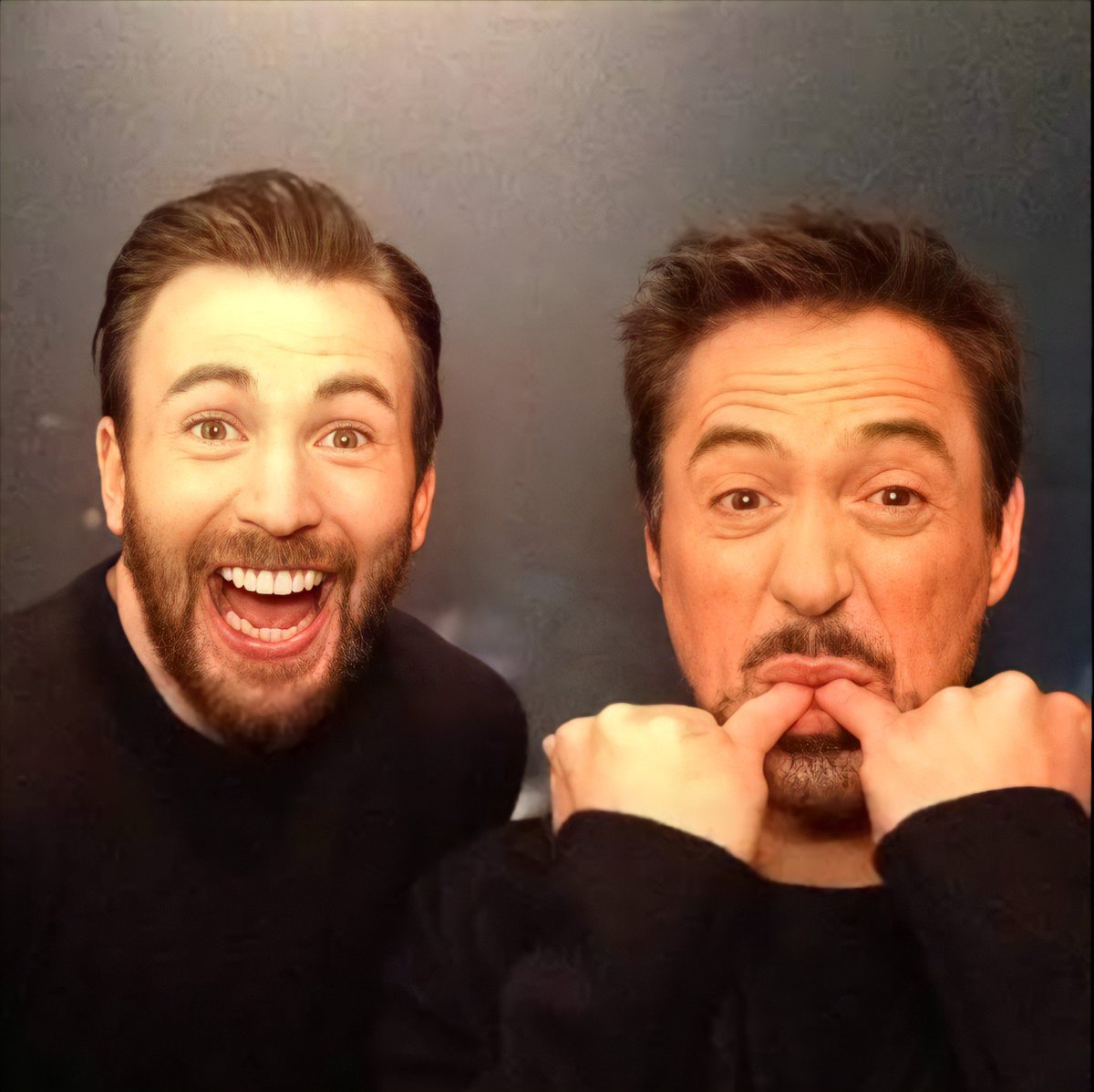 Robert Downey Jr and Chris Evans selling soup at Jimmy Kimmel Live.