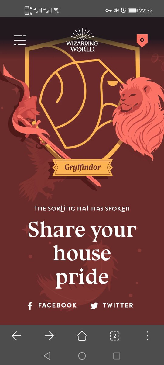 I got sorted into Gryffindor in the official @wizardingworld Sorting Ceremony. #HousePride