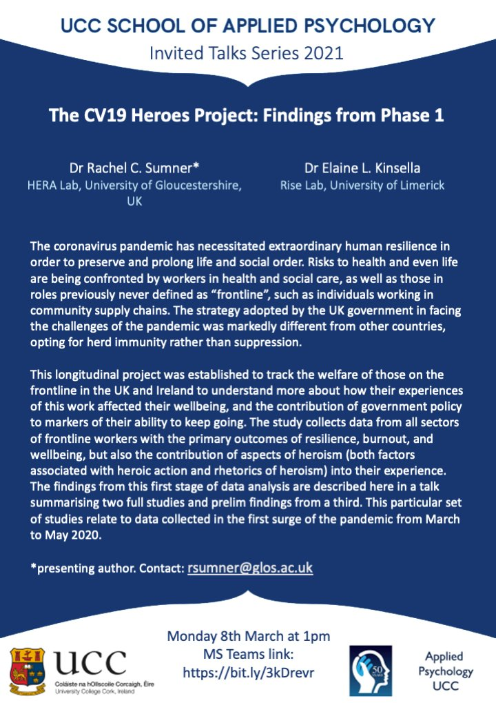 """test Twitter Media - Next week, for our research talk (8th March, 1pm), we are delighted to host Dr Rachel Sumner @Dr_Sumner  of @HERALabTweets, who will present a very timely and important piece of work; """"The CV19 Heroes Project: Findings from Phase 1."""" All welcome. Link: https://t.co/4h4hxHAR0K https://t.co/r4gFKsV1Ak"""