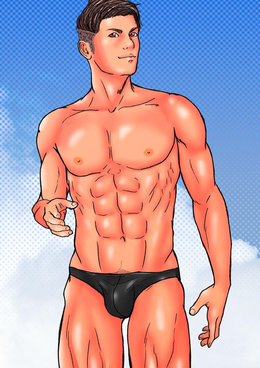 test ツイッターメディア - ツーブロックのビキニもっこりお兄さんを描いたイラストです。  ▼Kindle Unlimited CG集 https://t.co/n7EsSI3BRX  #Gay #Gayart #Gayillustration #Bara #Gaybara #ゲイ #ゲイイラスト #ビキニパンツ https://t.co/c2oHlHl01M