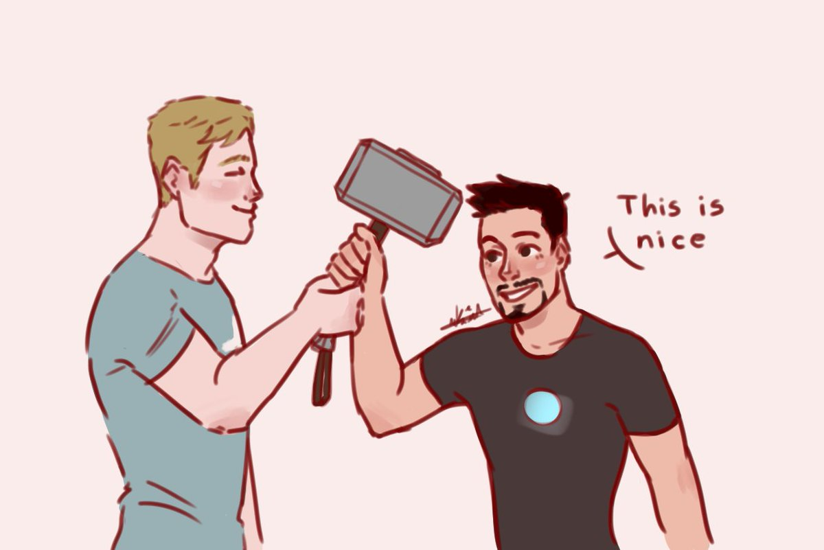 I did this little thing inspired by @cptstarkrogers tweet about Steve holding Mjölnir with Tony to make him feel good and I just had to 😭💙❤️ #stevetony #stony #superhusbands  (1/2)
