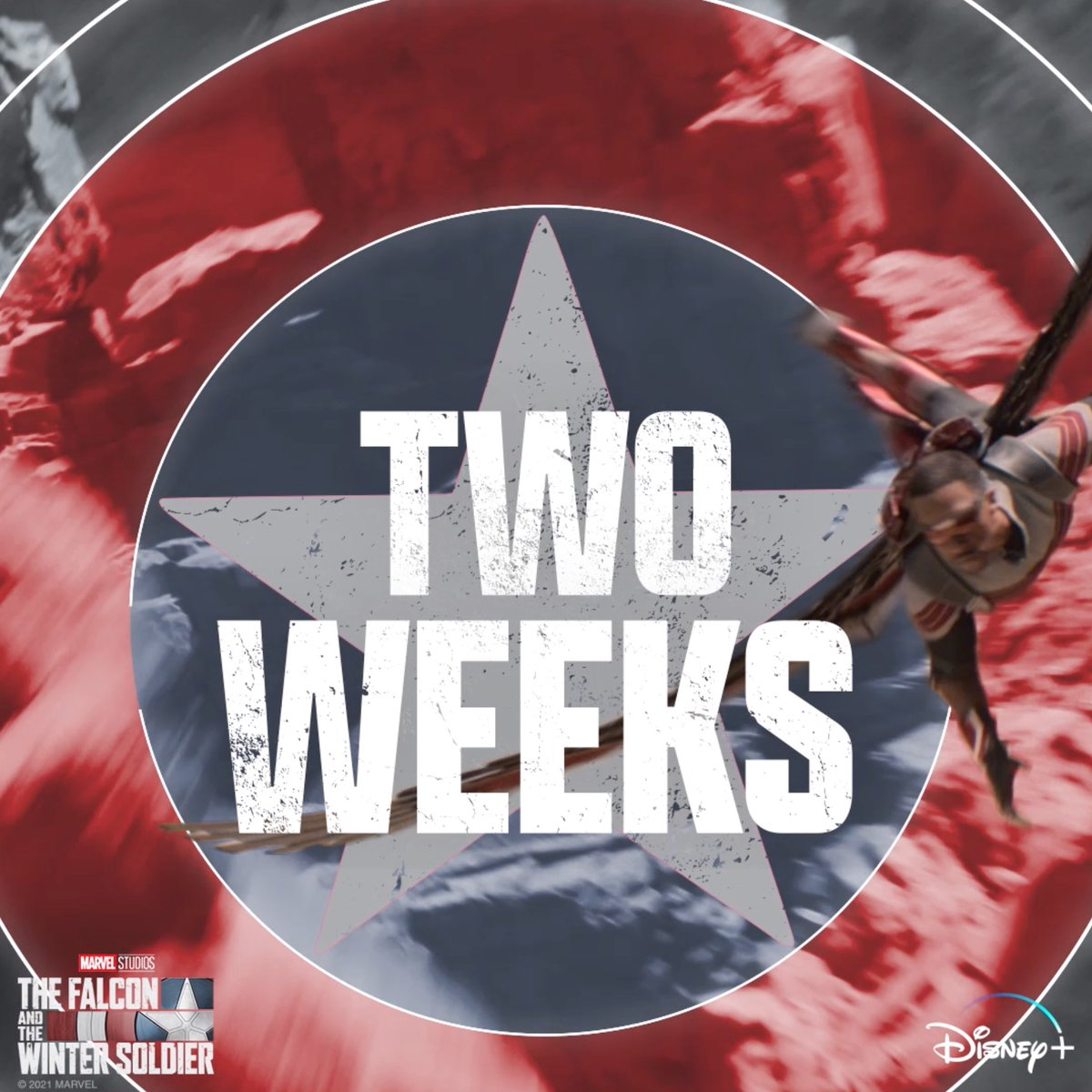 Two weeks until two heroes return. Marvel Studios' The Falcon and the Winter Soldier starts streaming March 19 on @DisneyPlus. #FalconAndWinterSoldier