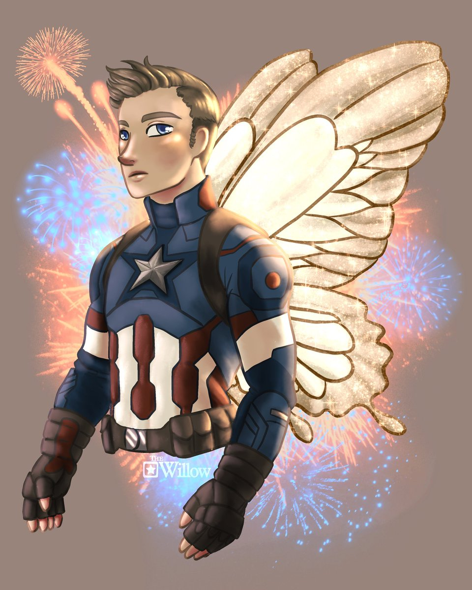 Early February I posted a Tony version with wings. I might have gone a bit overboard with the background here though... 😅😅😅 #artpost #ArtistOnTwitter #captainamerica #steverogers #marvelfanart #digitalart #procreate #fanart