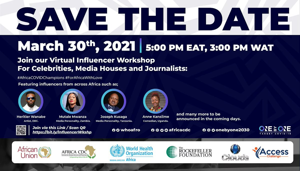 test Twitter Media - Join @OnebyOne2030, @AfricaCDC & @WHOAFRO on 3/30 for a Virtual Workshop that'll bring together a diverse group of #AfricaCOVIDChampions to shape #COVID19 response with accurate information. #ForAfricaWithLove  Register Now 👉 https://t.co/KRmWNFQgoX https://t.co/2ZgW6euAFl
