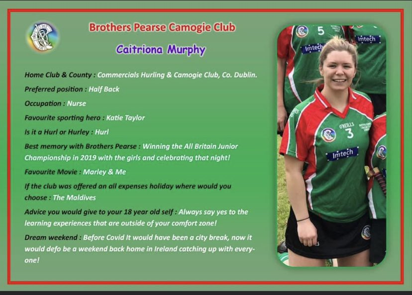 test Twitter Media - Caitriona Murphy is next up in our series of player profiles. Hailing from the Capital of Ireland, Co. Dublin. Caitriona, a strong and springy full back, took to the goals in the All Britain final in 2019, doing a mighty job leading us to winning the title! ❤️💚 #camogieinlondon https://t.co/pCBlohSqgU