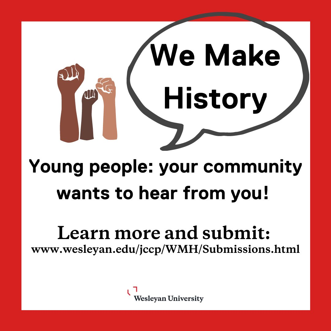 test Twitter Media - We Make History wants to hear from young people about their experiences during 2020 - a year defined by a global pandemic, economic uncertainty, and political unrest.   Submit here: https://t.co/CnnZP8tdr2  #WeMakeHistoryWes #WesArchives #WesEngage @wesleyan_u @Wesleyan_Lib https://t.co/SxXT5UrDAJ