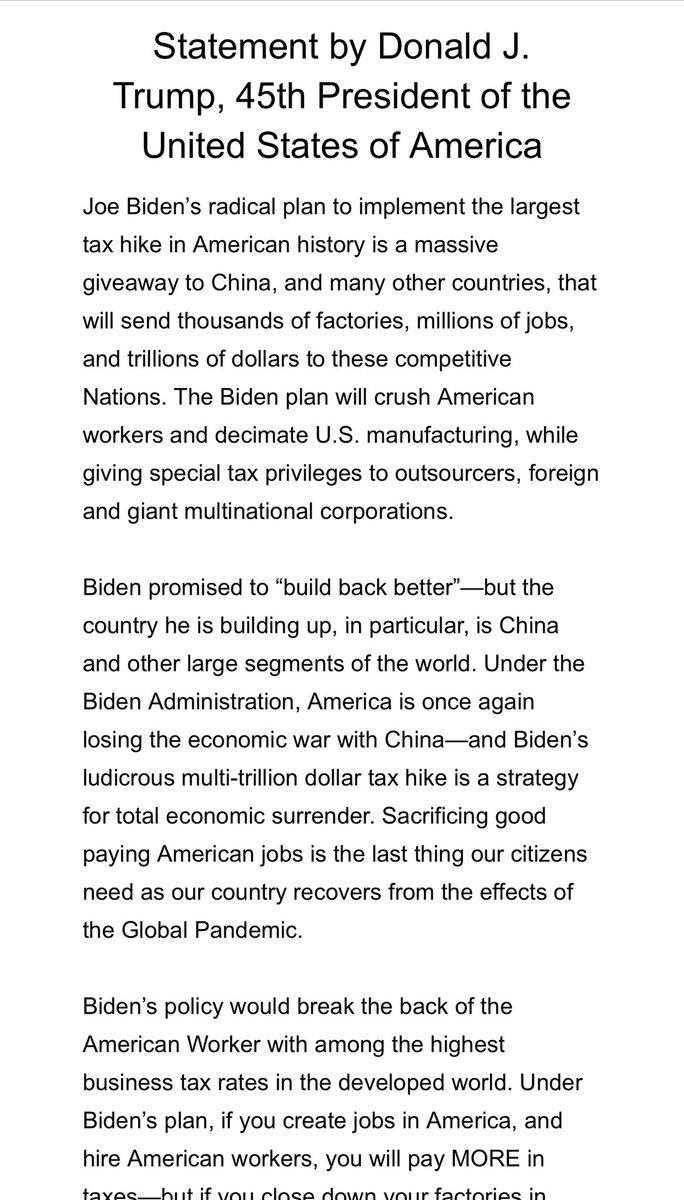 "Statement by President Trump on the Biden ""infrastructure"" spending plan"