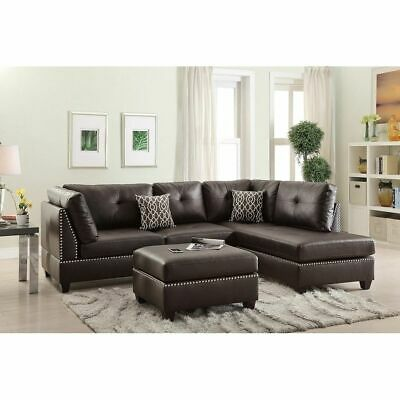Bobkona Chaise Upholstered 3-piece Reversible Sectional Sofa Set...