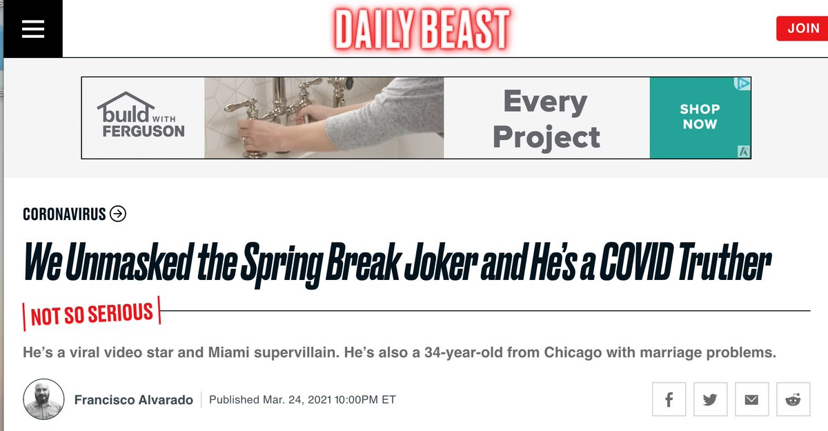 """Guy goes viral. Private citizen.  Daily Beast - """"Yeah about his marriage.""""  If you don't like the Enemy of the People label, perhaps stop acting as such."""