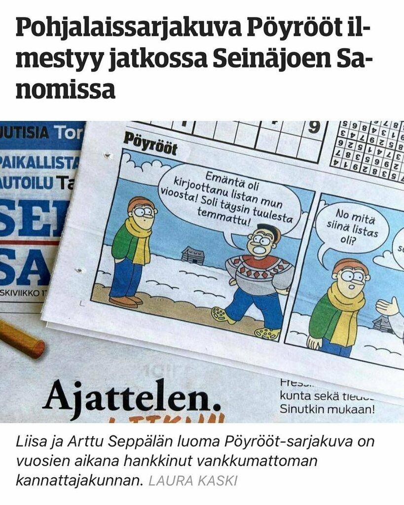 test Twitter Media - Seinäjoen Sanomat aloitti Pöyrööt-sarjakuvan julkaisemisen! ♦️Paikallislehti jaetaan jokaiseen talouteen Seinäjoen alueella ja lähiseudulla. Olemme erittäin iloisia uudesta yhteistyöstä! 🤝  https://t.co/sXPqW3Dzfe  Seinäjoen Sanomien jakelualueet ja -määrät Jakelu 60 000 kp… https://t.co/gtddvZ2gNz