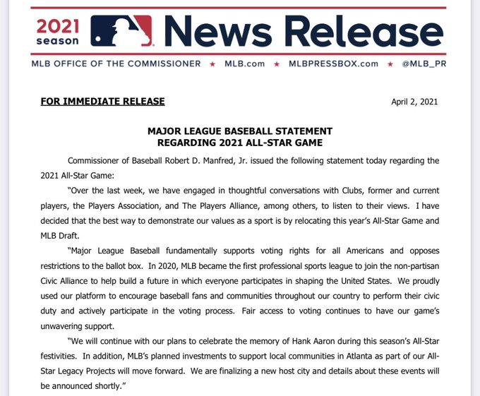 BREAKING: The MLB is moving the All Star game out of Atlanta in response to Georgia's election bill