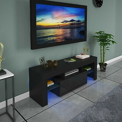"51""High Gloss TV Unit Cabinet Stand with LED Lights Shelves Home Furniture..."