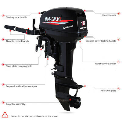 US Boat Engine 2 Stroke 18HP Short Shaft Outboard Motor 246CC For Sale...