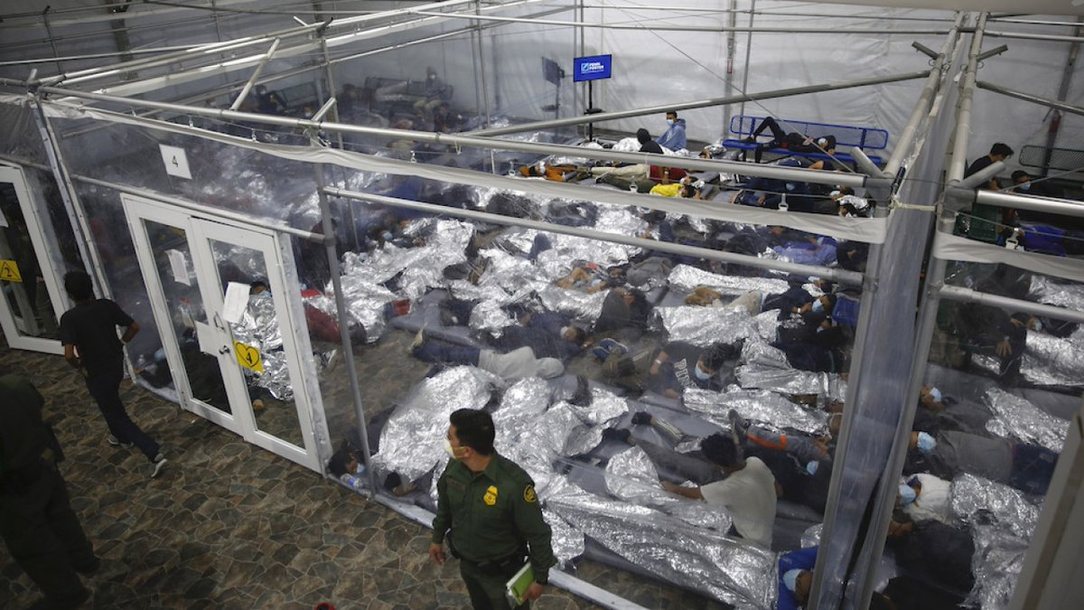 The Biden administration for the first time Tuesday allowed journalists inside its main border detention facility for migrant children, revealing severe overcrowding.