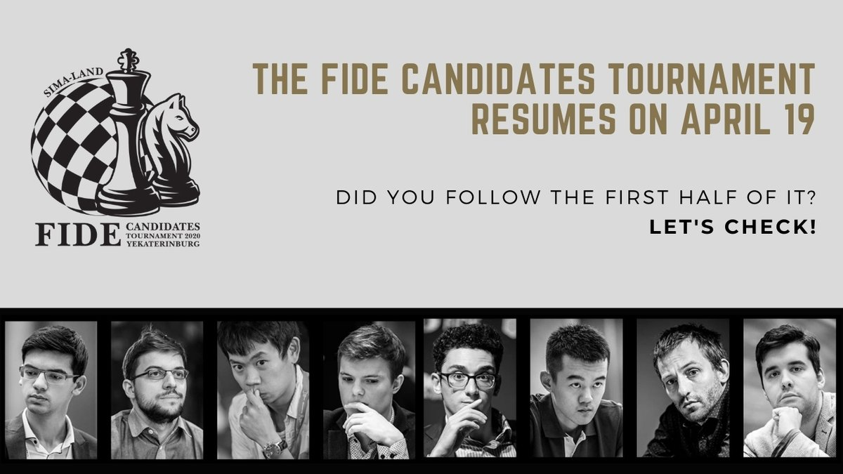 test Twitter Media - The FIDE Candidates Tournament resumes on April 19. Did you follow the first half of it? Let's check! /thread/  #FIDECandidates https://t.co/aESnKYVdRE