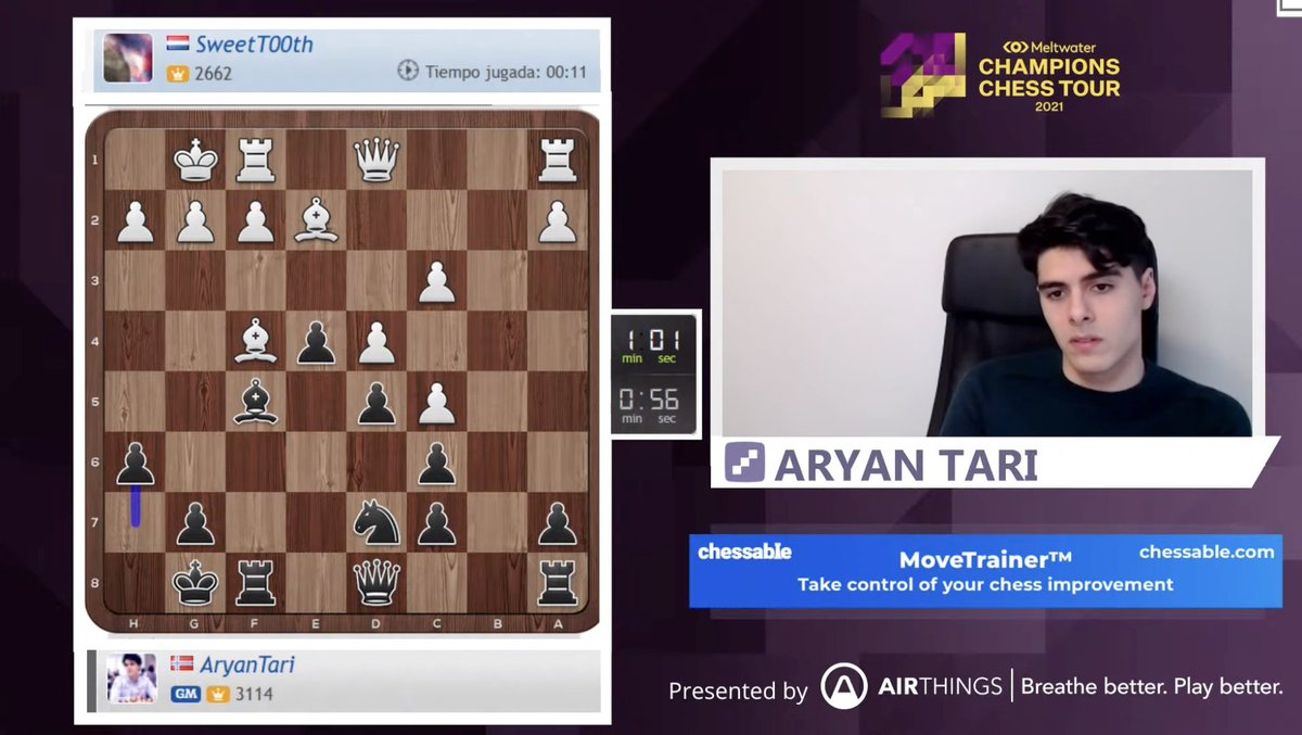 test Twitter Media - Norwegian no. 2 Aryan Tari is live now playing Banter Blitz!  https://t.co/XM4XRvAcan  #ChessChamps https://t.co/A1L8KRegMw