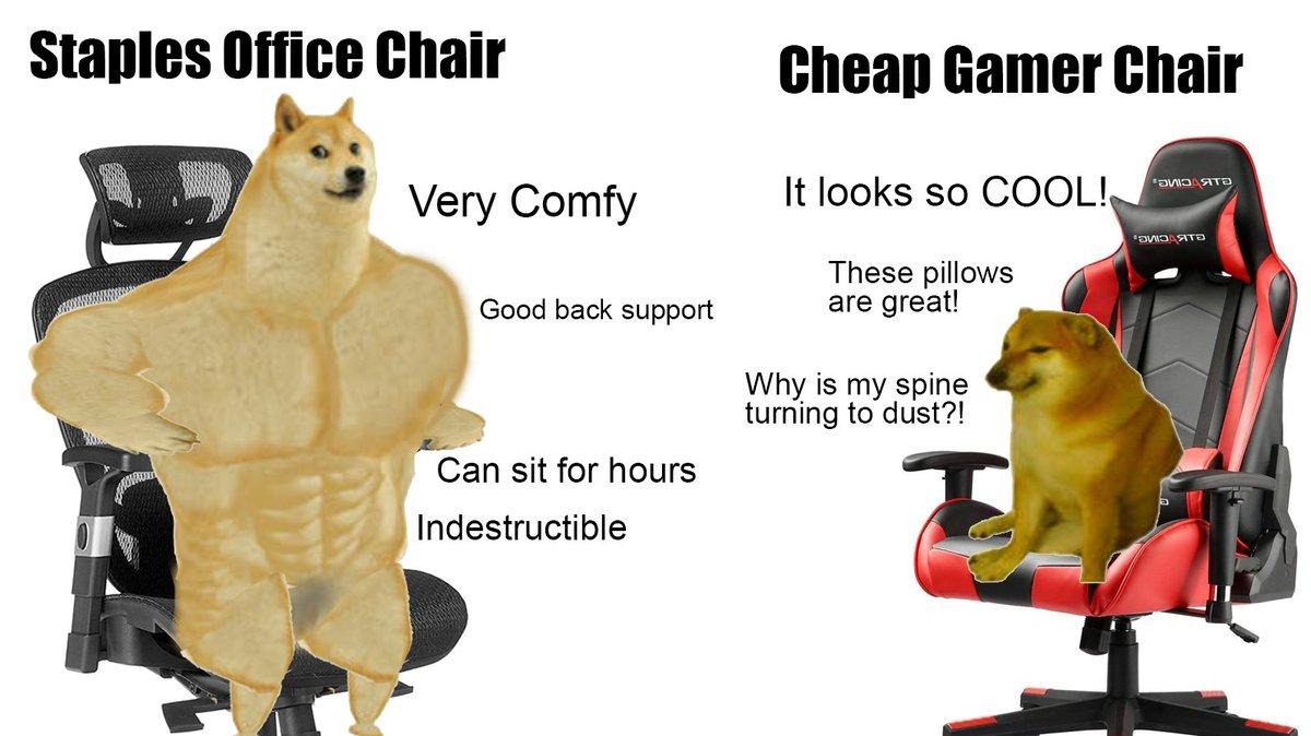RT @RedMufflerMan: PSA: Don't buy cheap gaming chairs https://t.co/QatFB6BJA0