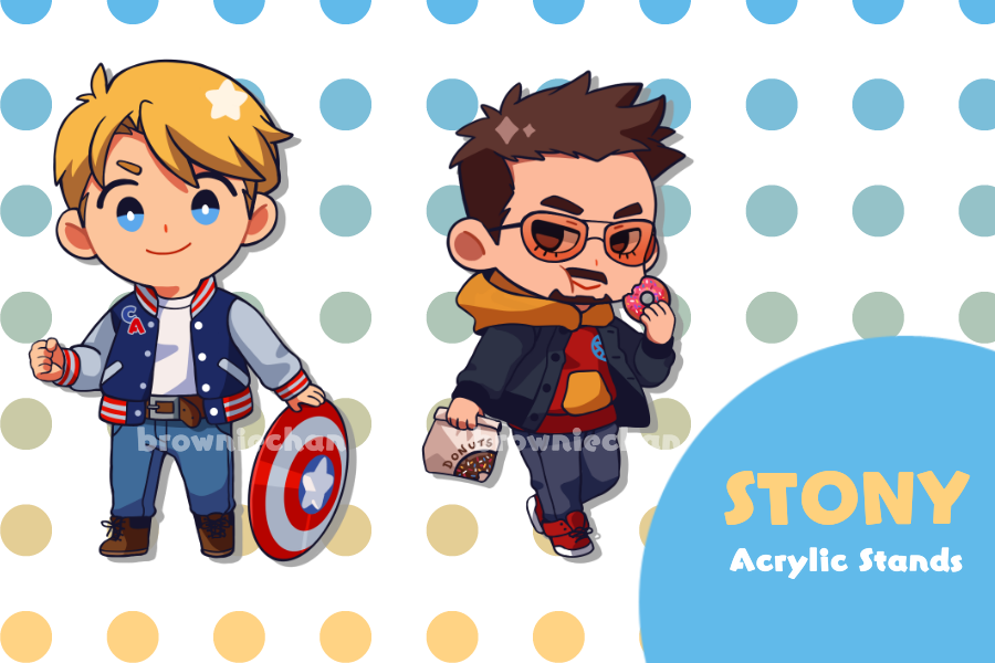 Steve & Tony acrylic stands that was long overdue, but they're finally come soon! ❤️💙  #stony #stevetony