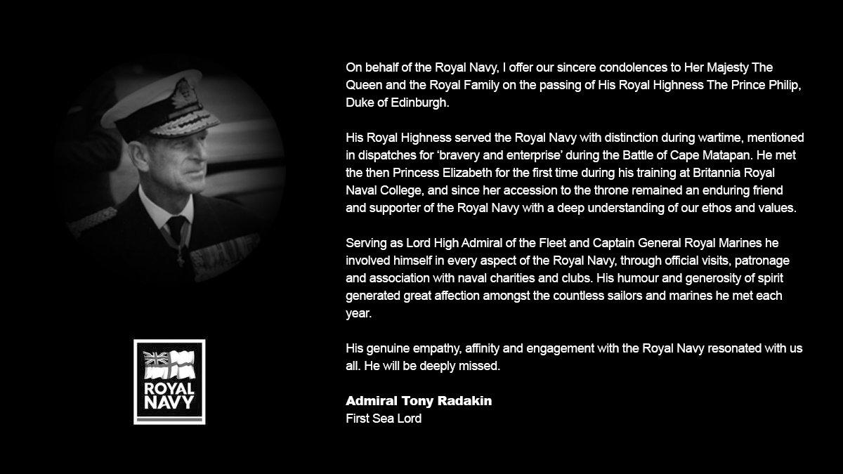 First Sea Lord @AdmTonyRadakin's tribute to HRH The Duke of Edinburgh. https://t.co/0W6wOgBlDW