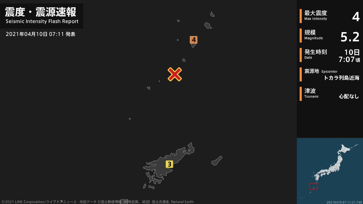 test ツイッターメディア - 【震度・震源速報 2021年4月10日】 7時7分頃、トカラ列島近海を震源とする地震がありました。震源の深さは約20km、地震の規模はM5.2と推定されています。この地震による津波の心配はありません。 https://t.co/bLXvF5SCVi