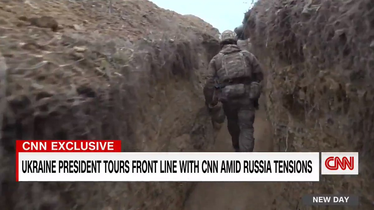 As Russia amasses troops near a war zone border, Ukraine's President tours front lines with CNN and calls for increased US support.