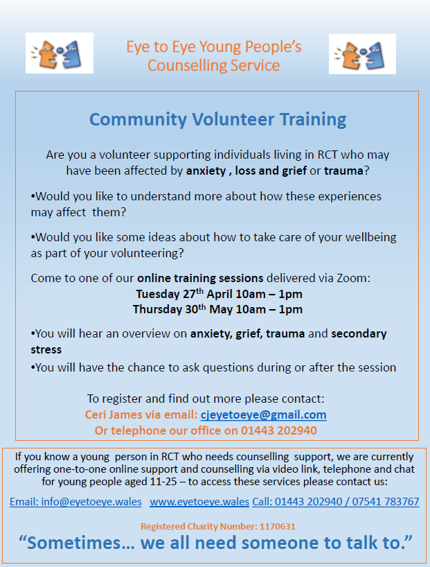 test Twitter Media - Here's some mental health training for volunteers. It can help with anxiety, loss and grief, trauma, and also stress caused by your volunteering role. Dates: 10am 27/04/21, 10am 30/05/21. Register or find out more: cjeyetoeye@gmail.com #RCT #communitydevelopment https://t.co/hlcPuOpEhp
