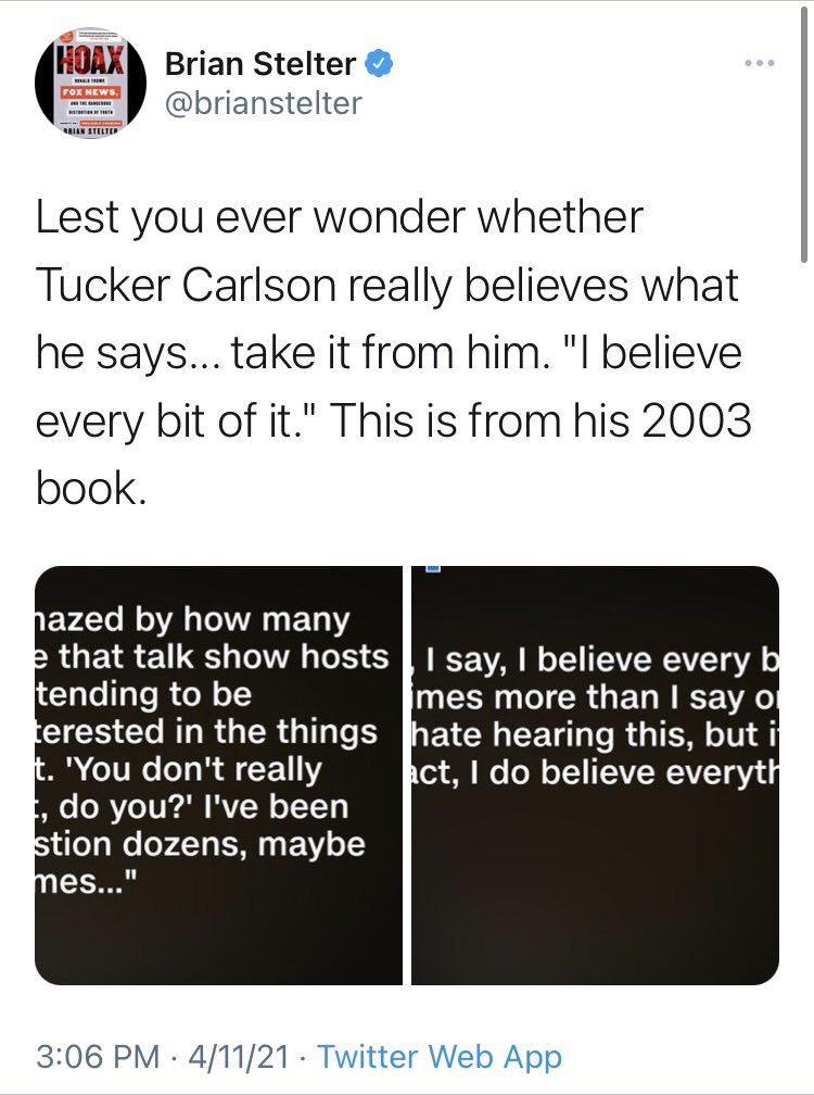 And forget just the networks. @brianstelter has tweeted about Tucker Carlson *six times* in just the last three days. Here are some.