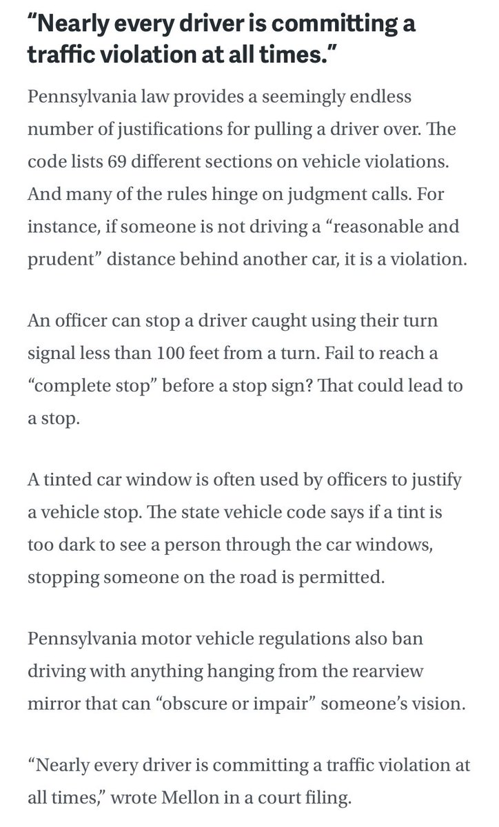 Daunte Wright case reminding me of how many states, like PA, allow police to cite just about anything to legally pull someone over — driving too close behind another car, having an air freshener dangling from a rearview mirror, etc.