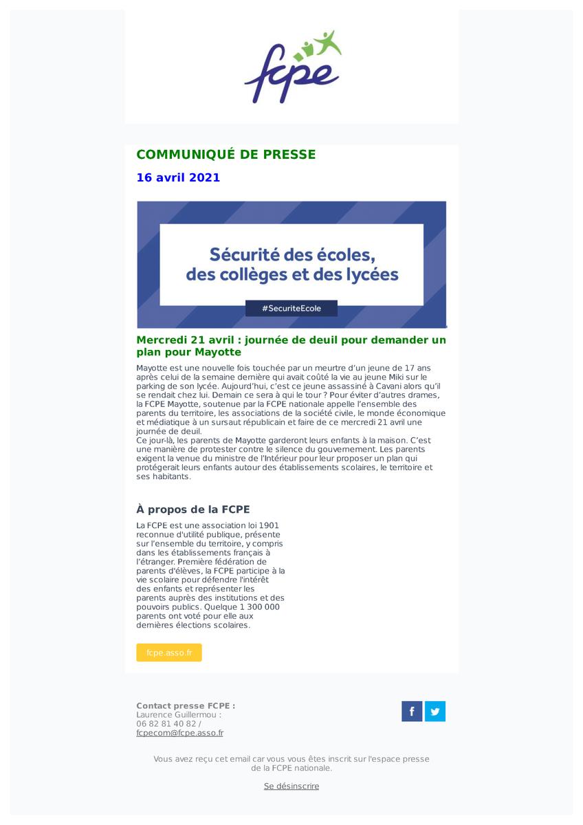 test Twitter Media - La FCPE #Mayotte, soutenue par la #FCPE nationale appelle à une journée de deuil mercredi 21 avril pour demander un plan pour Mayotte ! https://t.co/xPTIAkV1Cl