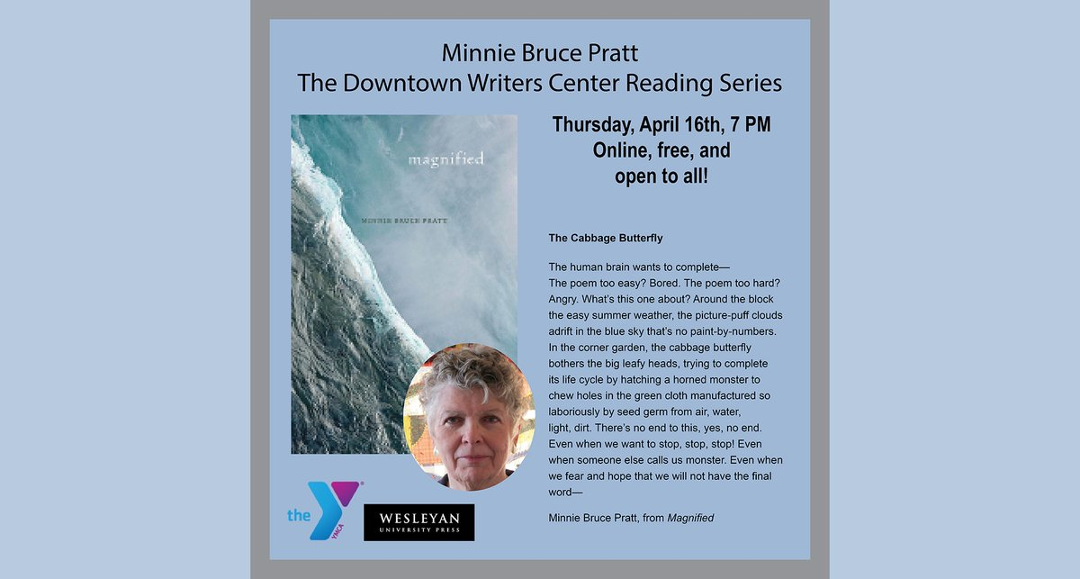 test Twitter Media - Tonight! Minnie Bruce Pratt @ Downtown Writers Center! Virtual Event: Friday, April 16th at 7 PM ET.  https://t.co/xAUY6uTD3W #MinnieBrucePratt #Magnified #YMCA #virtualreading #onlineevent #QueerPoets #Grief #Coping #Caregiver #Disability #WorkingClass #QueerLove https://t.co/4NA9WxXwlc