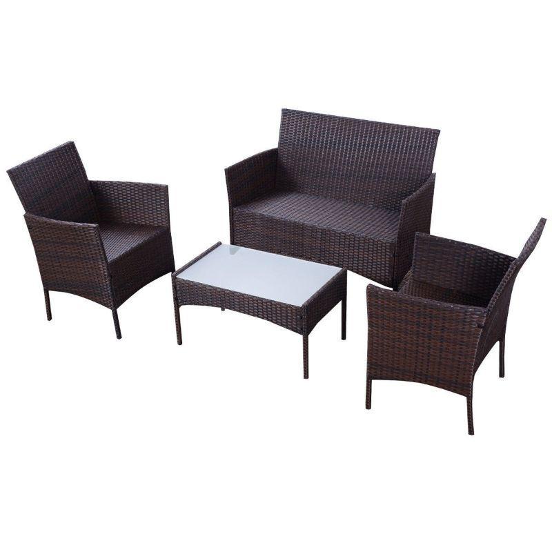 Outdoor Patio Brown Rattan Wicker Furniture Set - 4 Piece ➤ $ 263.99. ➤...