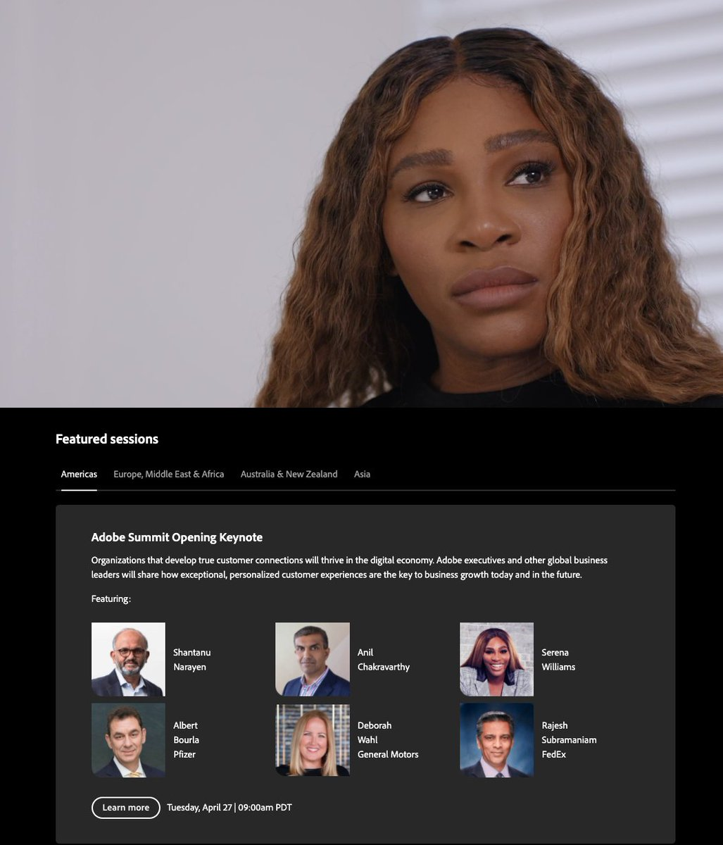 brentwpeterson: Serena Willams now live on the #AdobeSummit https://t.co/5l5VKYgoPn