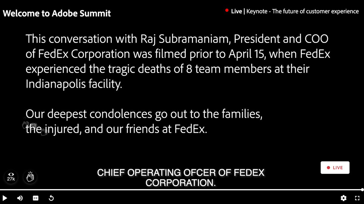 blueacornici: Our hearts continue to go out to the entire @FedEx family in light of this recent tragedy. @AdobeSummit #AdobeSummit https://t.co/cIl5ZLgj2g