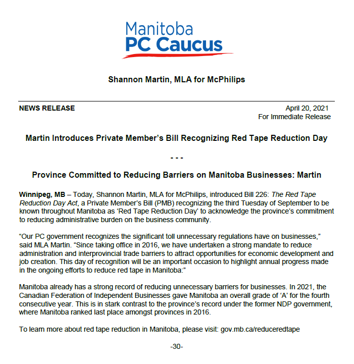 """test Twitter Media - Today, @MartinforMLA introduced a Private Member's Bill to recognize Red Tape Reduction Day on the 3rd Tuesday of September. Reducing red tape creates a stronger economy and more jobs. MB has received an """"A"""" Grade in reducing red tape for 4 straight years from CFIB. #mbpoli https://t.co/LHvaTgMIXx"""
