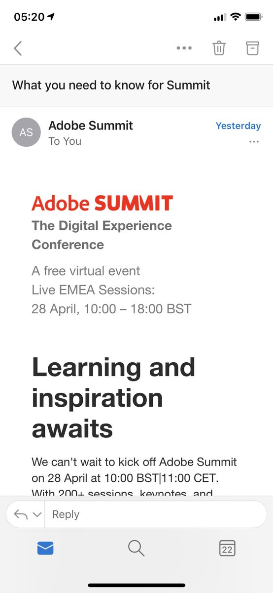 KDHungerford: Aaaah! Woke up to my session with @merkleinc highlighted in the #AdobeSummit email! 😳🔥🥰 https://t.co/tbLXS2LsQF