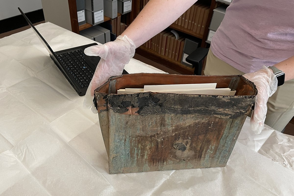 test Twitter Media - A time capsule from 1954 was unearthed during recent PAC construction. It was found encased in concrete on the east side of the building. In it was a trove of Wesleyan institutional information-including copies of the Wesleyan Argus and a campus view book. https://t.co/JeDwYykkIa https://t.co/C4ZoYe7cN3