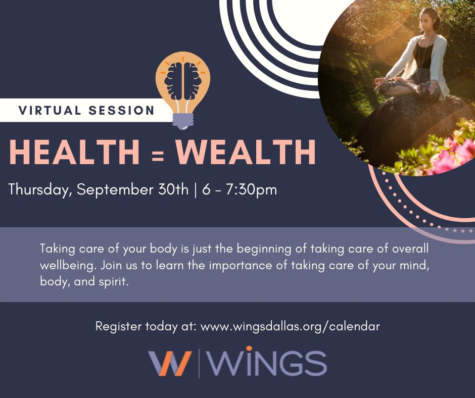 """test Twitter Media - Have you heard the phrase """"Health = Wealth""""? Health is often forgotten as we try and take care of our every day needs. Between work and family, it can be a challenge to focus on YOU, but we can help. Join us for a virtual session on Thursday. Register at https://t.co/VaAFMOs4HS https://t.co/kMRNDbPJ4m"""