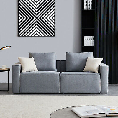 Linen Sofa With Wide Armrest Gray Comfortable Modern Furniture Living Room...