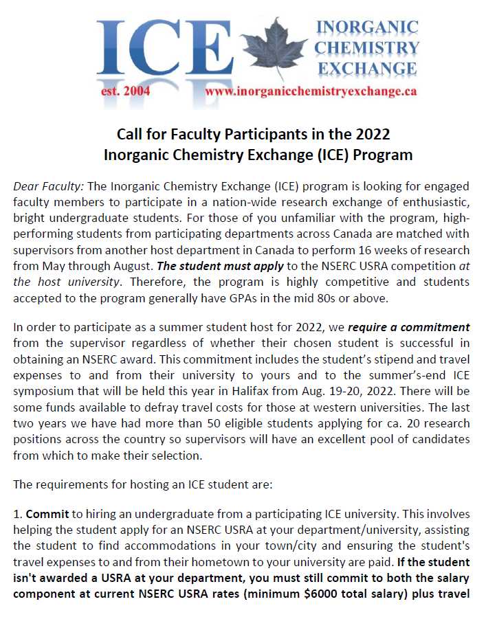 test Twitter Media - Call for Faculty Participants in the 2022 Inorganic Chemistry Exchange (ICE) Program https://t.co/yiZIO55KCL