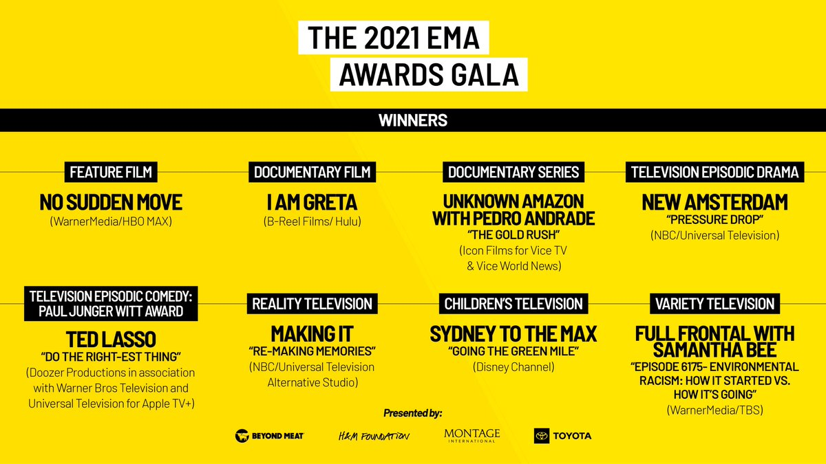 Last night was amazing! We want to congratulate all of our winners and nominees. Thank you for including critical environmental messaging in your work. #EMAAwards https://t.co/ynNrMJtdpM