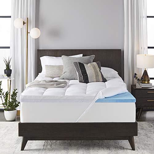 Sleep Innovations 4-inch Dual Layer Gel Memory Foam Mattress Topper, Twin,...