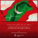 Greetings and best wishes on the occasion of the National Day of Maldives. https://t.co/lmSrk3KNH7