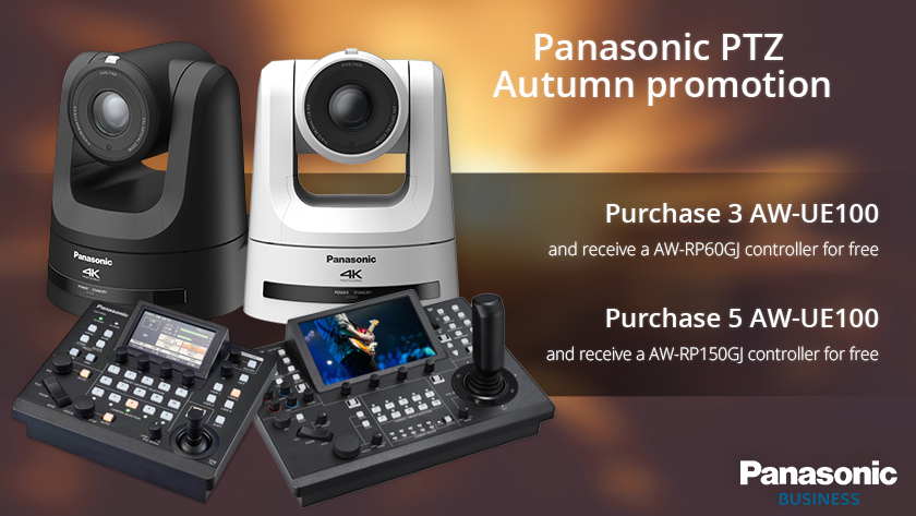 Panasonic are offering a free AW-RP60 or AW-RP150 camera controller when buying multiple AW-UE100 cameras (T&Cs apply).