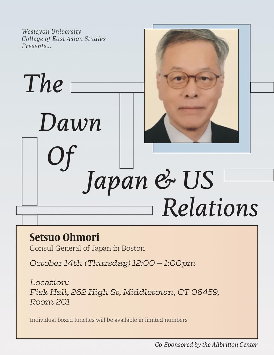 test Twitter Media - Join us this Thursday for a talk with Japan-US relations with Setsuo Ohmori, Consul General of Japan in Boston!  Presented by the College of East Asian Studies, Wesleyan University and co-sponsored by the Allbritton Center.  10/14 (Thursday) 12:00-1:00pm  Limited lunch provided. https://t.co/R2SW0B5em3