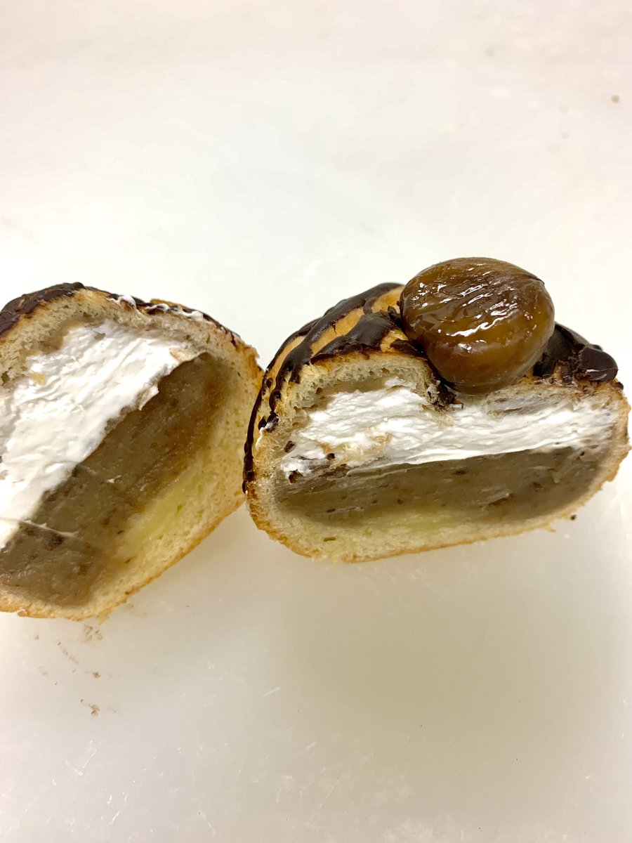 test ツイッターメディア - マロンデニッシュ コロンと球形デニッシュの中にはふわふわホイップと渋皮入りマロンクリームがたっぷり入っています。激ウマです!#マロンデニッシュ #栗 #デニッシュ #美味しいパン #水戸市 https://t.co/xN2jgEiQhk