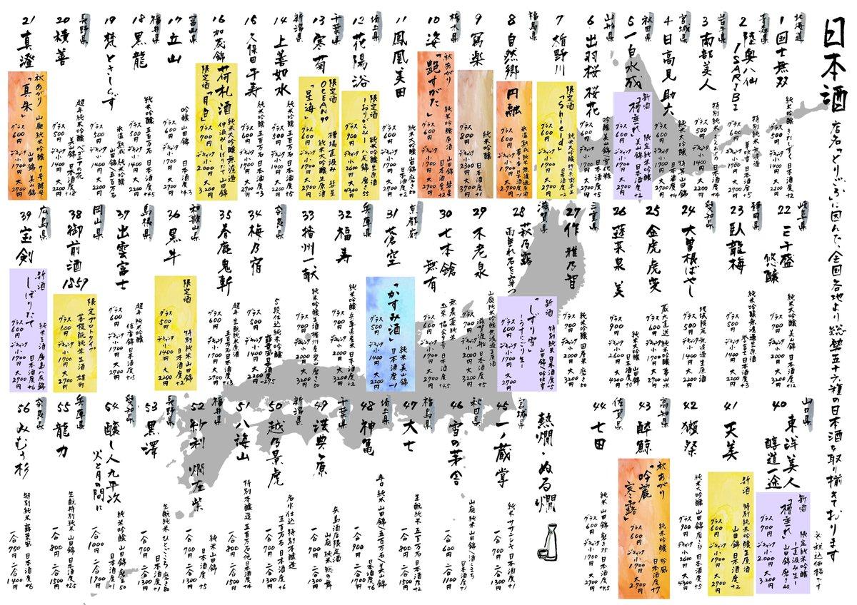 test ツイッターメディア - 日本酒一覧🍶最新版🍁 新しく #国士無双 #真澄 が仲間入りです😊熱燗も色々と復活。お楽しみください🍶 https://t.co/J2Q9Spif1J