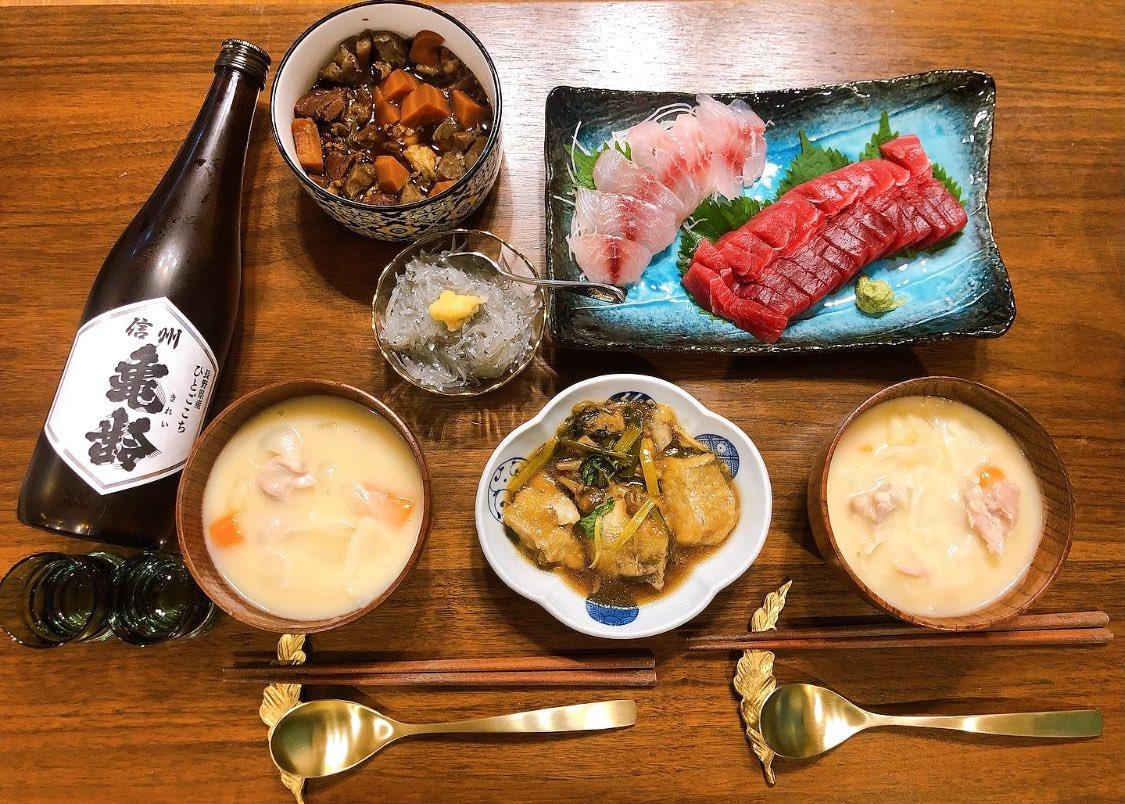 test ツイッターメディア - 信州亀齢の安定感ハンパない🤣 魚もシチューも何にでも合う✨✨  #おうちごはん #日本酒 #信州亀齢 https://t.co/J8gedLpdOn