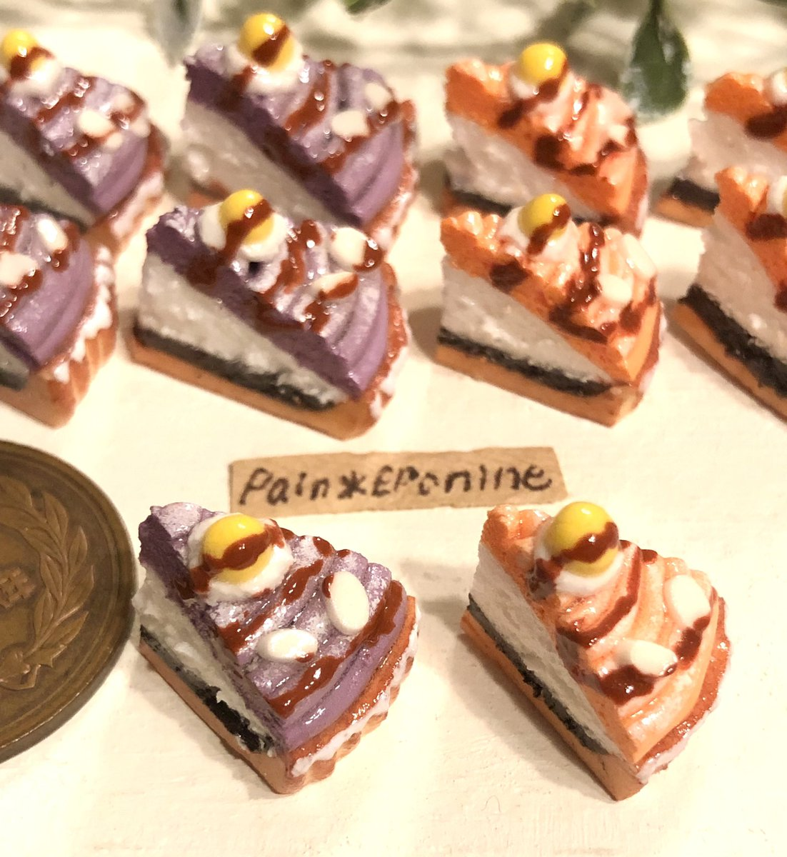 test ツイッターメディア - 【ミニチュア】紫芋とカボチャのモンブランタルト  焼き色にこだわったタルトに、チョコレート生地、ホイップ、紫芋とカボチャのクリームを飾りました🍠🎃  シルバニアやリカちゃんなどお人形遊びにも✨  #ハンドメイド #ドールハウス #モンブラン #タルト #ケーキ #minne  https://t.co/h7zsSOvlPH https://t.co/1F3zOMUhcy