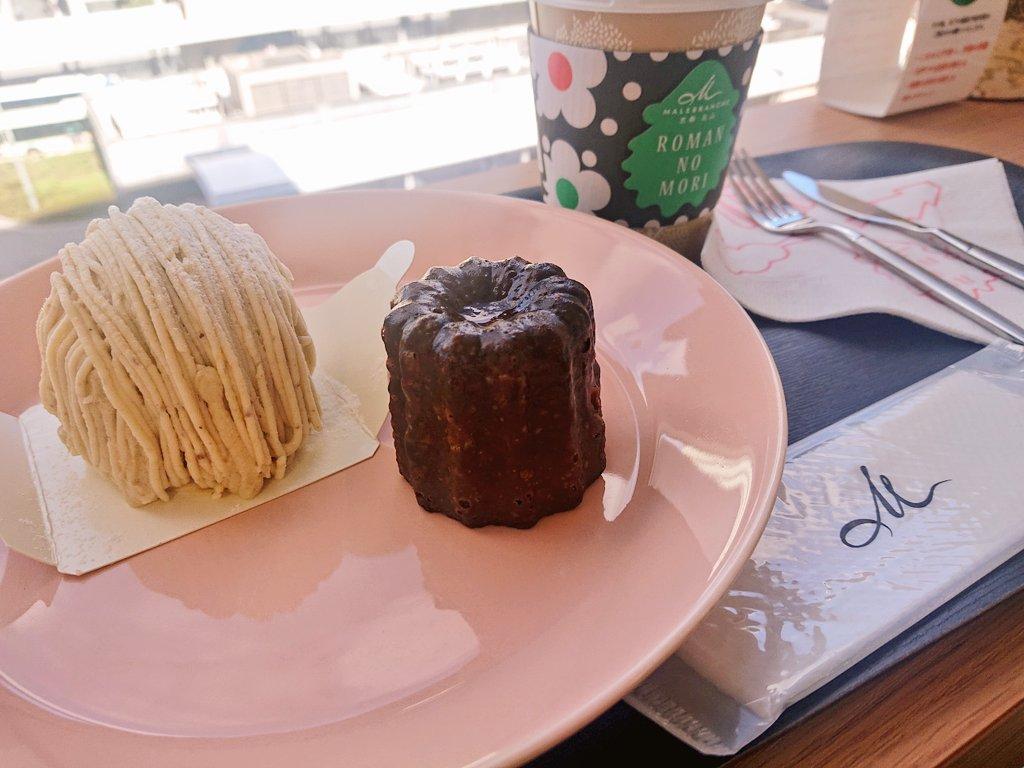 test ツイッターメディア - 伊勢丹の『ロマンの森カフェ』。京都タワーとロマンくんが前に見える席にて丹波栗のモンブランとカヌレを頂きました。やっぱりマールブランシュのモンブランは美味しくて、カヌレは中がもっちりしてて美味しかった。🌳🌳🌳 https://t.co/cFynYl38FD