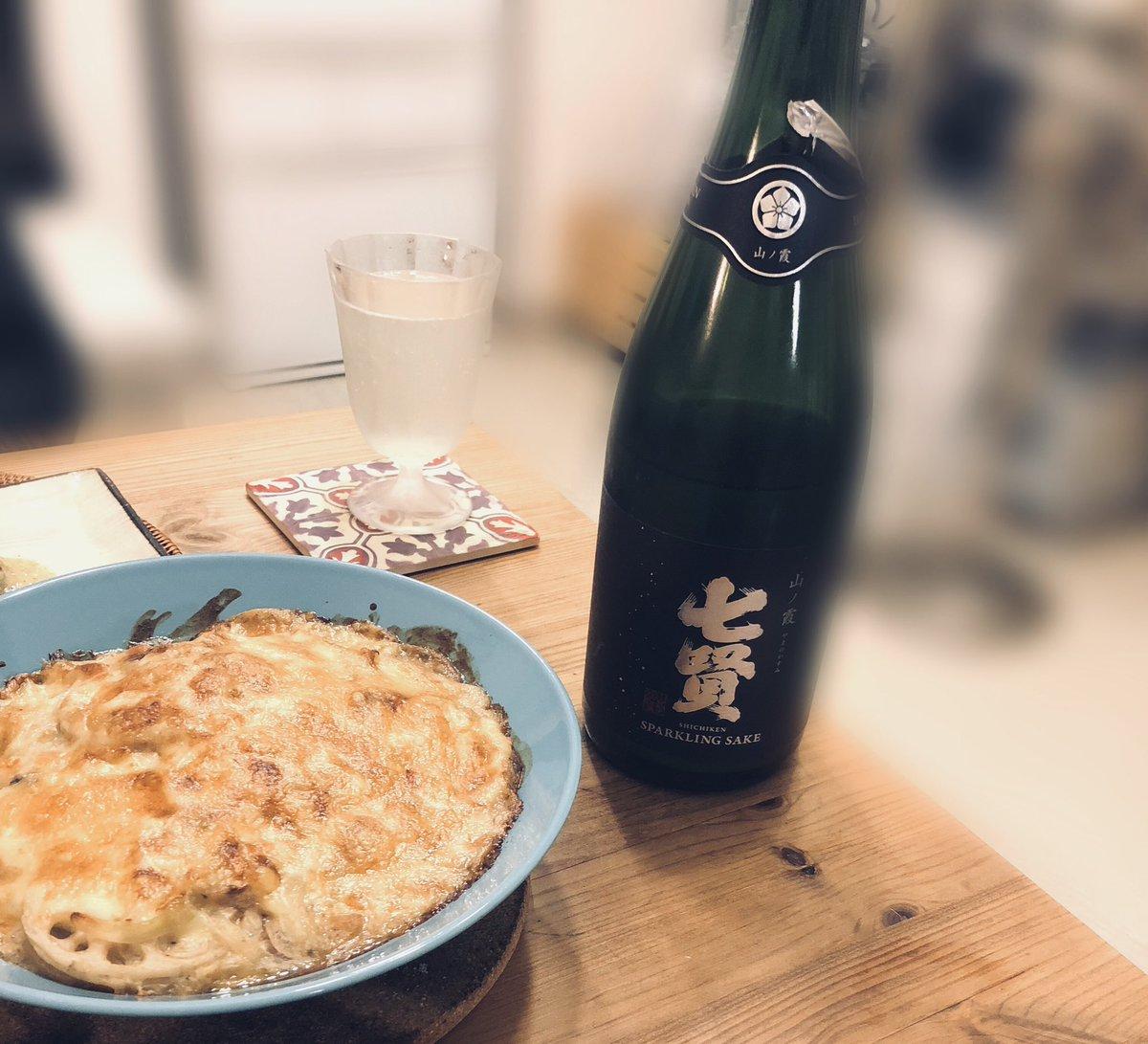 test ツイッターメディア - ずっと飲みたかった七賢スパークリング!!日本酒のスパークリングでスイスイ飲めてしまう  お料理は洋風和食(もはや和食ではない) ・ホタテと柿とズッキーニのカルパッチョ ・まぐろとアボカドのヅケ🥑 ・キノコとれんこんの豆乳グラタン ・翡翠ナスのステーキ  たまに違った料理するとたのしい😋 https://t.co/UCquMaf7HM